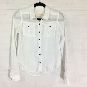 We the Free White Button Down Shirt